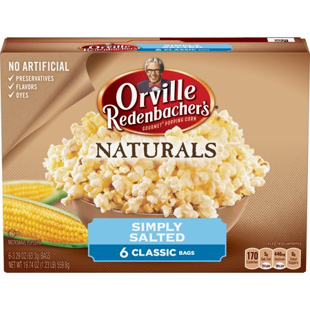 (4 Pack) Orville Redenbacher's Microwave Popcorn, Natural Simply Salted, 6 Bags, 3.29 Oz each](Halloween Popcorn Bags)