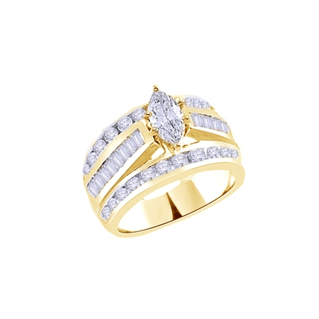 Wedding Set Yellow Gold Setting (White Cubic Zirconia Engagement & Wedding Trio Band Ring Set In 14k Yellow Gold Over Sterling Silver (3)