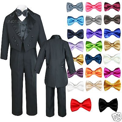 6pc Baby Kid Boy Wedding Formal Black Vest Tail Tuxedo Suits with extra Bow S-18 - Pink Tuxedo
