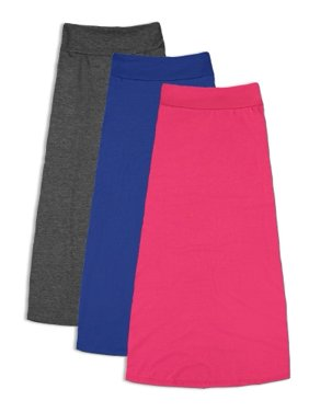 3 Pack: FTL Girls 7-16 Maxi Skirts - Great for Uniform