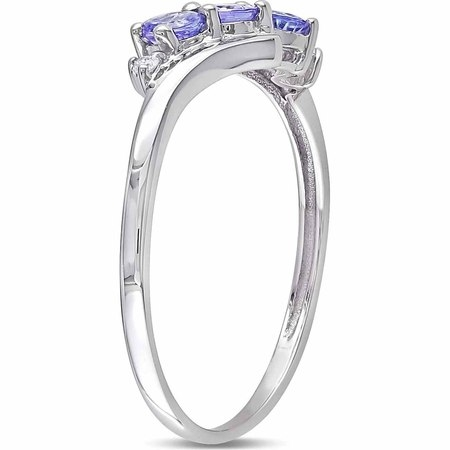 1/3 Carat T.G.W. Tanzanite and Diamond-Accent 10kt White Gold Three-Stone Bypass Ring