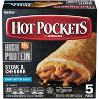 HOT POCKETS Steak and Cheddar Cheese Melt Sandwiches – Hot Pockets Frozen Sandwiches with No Artificial Flavors and 14g of Protein, Pack of 5
