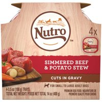 (3 Pack) NUTRO Wet Dog Food Cuts in Gravy Multipack, Simmered Beef & Potato Stew, (4) 3.5 oz. Trays