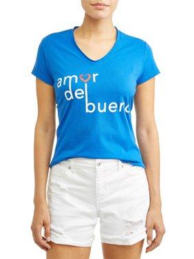 Amor Del Bueno Short Sleeve V-Neck Graphic T-Shirt Women's