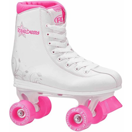Roller Star 350 Girls\' Quad Skates, White/Pink - Lighted Roller Skates
