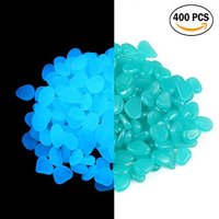 2lb 400PCS Glow in the Pebbles Stones for Indoor and Outdoor Walkways Garden Driveway Large Bag Powered By Light And Solar (Green)