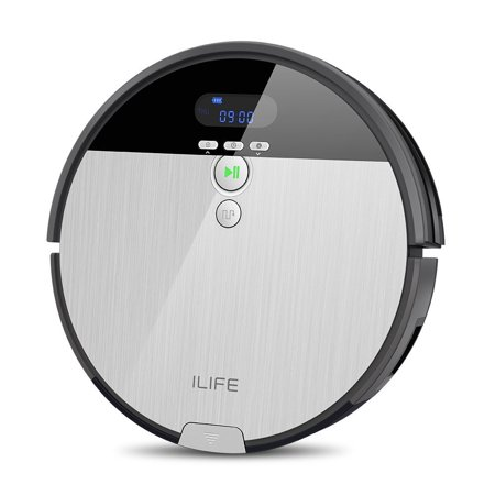 ILIFE V8s Robotic Mop&Vacuum Cleaner with 750ML Big Dustbin, LCD Display and Multi-Task Schedule Function, Higher Suction Power Design for Hard