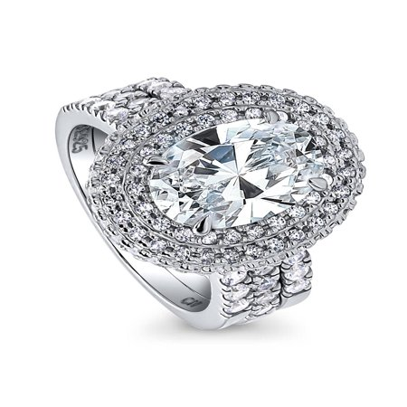 BERRICLE Rhodium Plated Sterling Silver Oval Cut Cubic Zirconia CZ Halo Engagement Ring Set Size (Oval Cut Cubic Zirconia Ring)