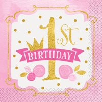 (3 Pack) Pink and Gold Girls First Birthday Beverage Napkins, 16ct