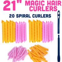 "Magic Hair Curlers Spiral Curl Set of 20 PCS 21"" Inch with Hook"