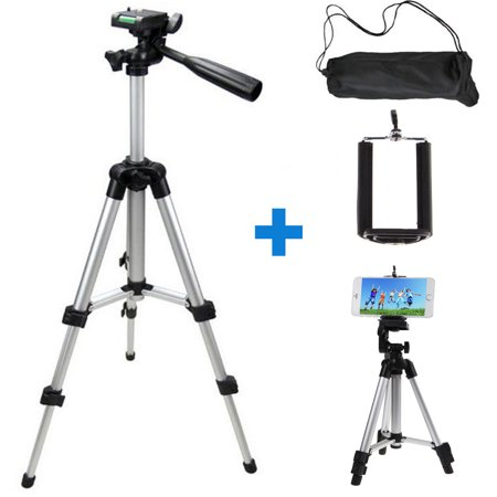 Professional Camera Tripod Stand Mount + Phone Holder for Cell Phone iPhone XS XR X 8 7 6 6S Plus Samsung Galaxy Note S10/S10E/ 9/8 S9 S8 S7 S6 Edge(Plus), (Best Tripod Kit For Compact Cameras)