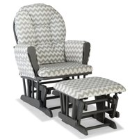 Storkcraft Chevron Hoop Glider and Ottoman Gray with Gray Cushions