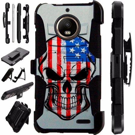 Us Airmail Cover (For Motorola Moto E4 Case / Moto E 4 Case Armor Hybrid Case Silicone Cover Kick Stand LuxGuard Holster (US Skull) )