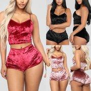 8a13fe2c7c76e Women s Underwear Sexy Lingerie Pajamas Velvet Crop Tops Bralette Panty Sets