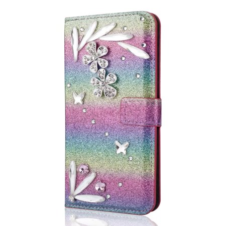 - For Samsung Galaxy S9 Diamond Feather Glitter Leather Magnetic Flip Wallet Case Cover, Gradient Green