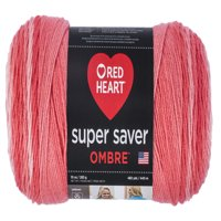 Red Heart Super Saver Ombre Yarn, SEA CORAL