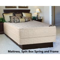 """Continental Sleep, 14-inch Fully Assembled Innerspring Double Sided Mattress and 8"""" Split Semi Flex Box Spring with Frame, King Size"""