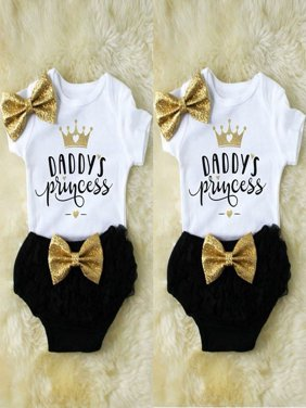 Toddler Baby Girls Romper Tops Jumpsuit Tutu Pants Headband Outfits Clothes Set