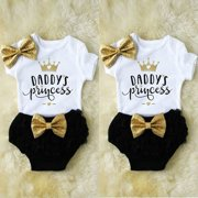 e88e6c8b86b Toddler Baby Girls Romper Tops Jumpsuit Tutu Pants Headband Outfits Clothes  Set