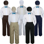 4pc Turquoise Spa  Bow Tie Party Suit Pants Set Baby Boy Toddler Kid S-7