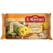 El Monterey Breakfast Supreme Egg, Sausage & Cheese Burritos 12 ct Bag