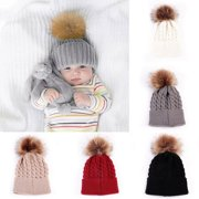 61a2dabcd01 Baby Kids Fur Pom Bobble Cap Newborn Boys Girl Warm Knit Beanie Hat Xmas  Gift