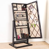 Hives & Honey Jewelry Armoire Standing Cheval Mirror - Ceruse Black