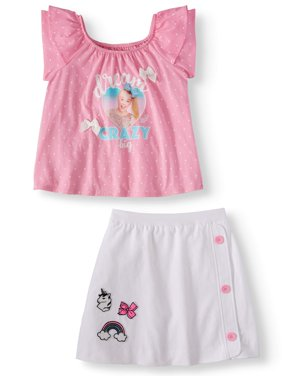 Graphic Ruffle Tee and Patches Scooter, 2-Piece Outfit Set (Little Girls & Big Girls)