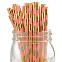 Just Artifacts Decorative Striped Paper Straws (100pcs, Striped, Metallic Gold and Pink)