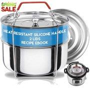 9af126cd4 Silva Stackable Instant Pot Inserts + 2 Lids and Heat Safe Handles + Recipe  Ebook-