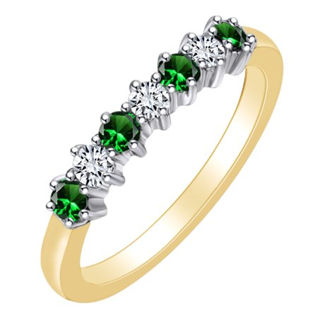 0.4 Carat (Ctw) Simulated Emerald & White Natural Diamond Eternity Wedding Band Ring In 14k Solid Yellow Gold Ring Size-8