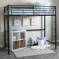 Walker Edison Twin Metal Loft Bed - Black (Multiple Colors Available)
