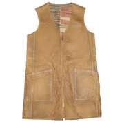 ba14c3c7 Ralph Lauren Women Double Sided Fringe Leather/Woven Western Style Vest (M,  Camel