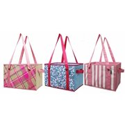 997a50908b0 Earthwise Reusable Grocery Bag Shopping Box Deluxe Collapsible Pink Plaid  Fashion Tote with Reinforced Bottom (