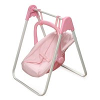 "Badger Basket Doll Swing with Portable Carrier Seat - Pink/Gingham - Fits American Girl, My Life As & Most 18"" Dolls"