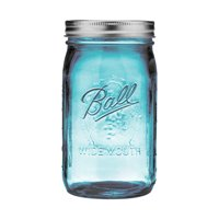 Ball Collection Elite Color Series Blue Glass Mason Jar with Lid and Band, Wide Mouth, 32 Ounces, 4 Count