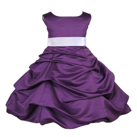 Ekidsbridal Formal Pick-up Satin Purple Flower Girl Dress Junior Bridesmaid Wedding Pageant Toddler Recital Easter Holiday Communion Birthday Girls Clothing Baptism Special Occasions 806s - Wisteria Dress