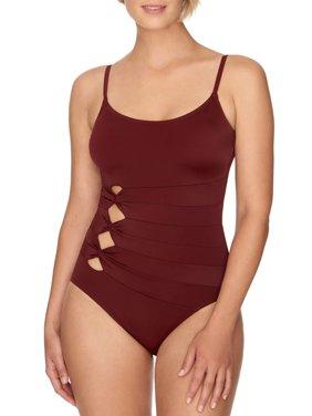 Women's Claret Solid One Piece Swimsuit