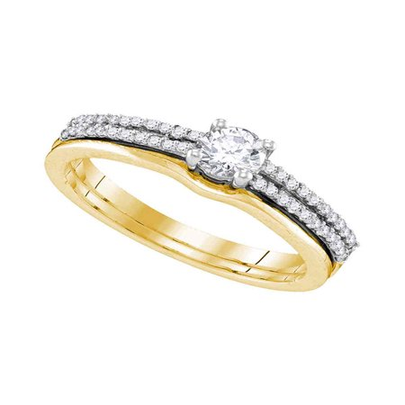 14kt Yellow Gold Round Diamond Slender Double Row Bridal Wedding Engagement Ring Band Set 1/2