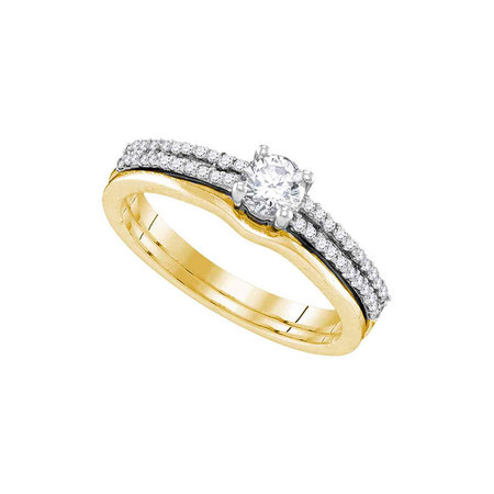 14kt Yellow Gold Womens Round Diamond Slender Double Row Bridal Wedding Engagement Ring Band Set 1/2