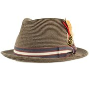 c6f089a1a9fac SK Hat shop Men s Stripe Band Removable Feather Derby Fedora Curled Brim Hat  ...