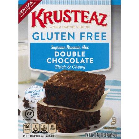(4 Pack) Krusteaz Gluten Free Double Chocolate Brownie Mix, 20oz Box ()