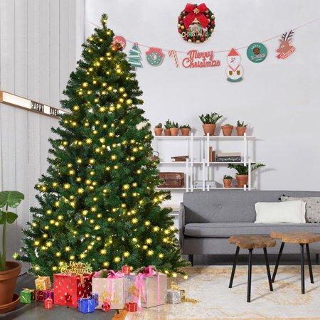 Costway 7Ft/7.5Ft/8Ft Pre-Lit PVC Artificial Christmas Tree Hinged w - Costway 7Ft/7.5Ft/8Ft Pre-Lit PVC Artificial Christmas Tree Hinged W