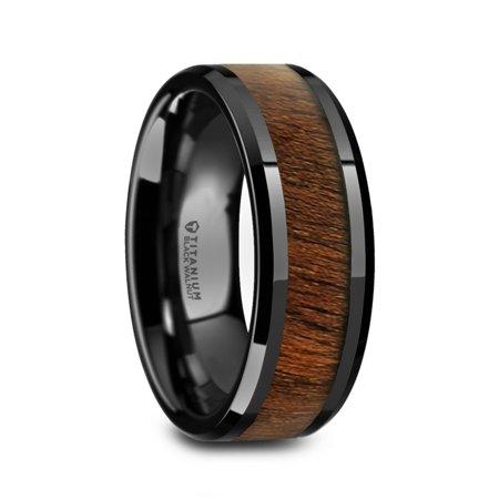 Kony Black Titanium Polished Beveled Edges Black Walnut Wood Inlaid Mens Wedding - Walnut Ring