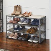 Better Homes & Gardens Decorative Gunmetal Grey Wood and Metal Shoe Rack