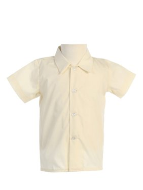Avery Hill Baby Boys Infant Toddler Short Sleeved Simple Dress Shirt in Ivory or White