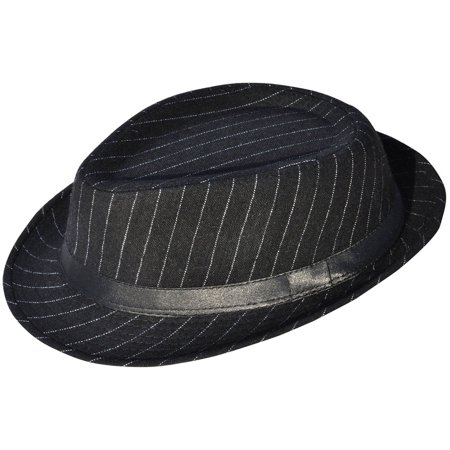 Simplicity Mens Cool Fedora Trilby Hat Pinstripe with Black Band (Pinstriped Fedora Gangster Hat)