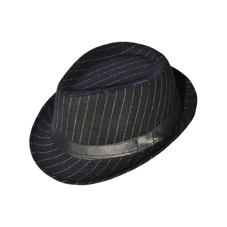 Simplicity Mens Cool Fedora Trilby Hat Pinstripe with Black Band](Fedora Black)