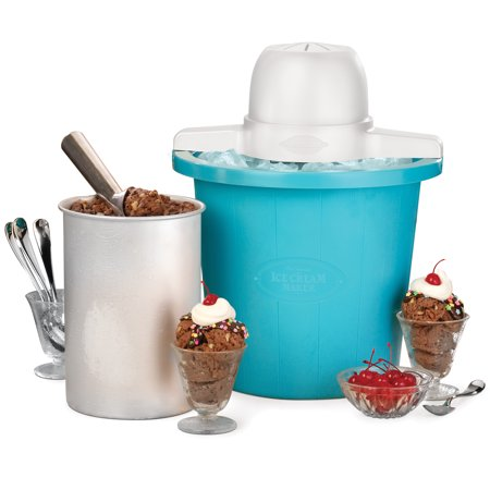 Nostalgia 4-Quart Blue Bucket Electric Ice Cream Maker, - Pecan Ice Cream