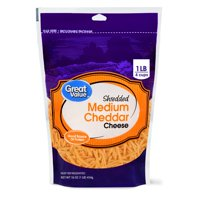 Great Value, Shredded Cheddar Cheese, Medium, 16 Oz.